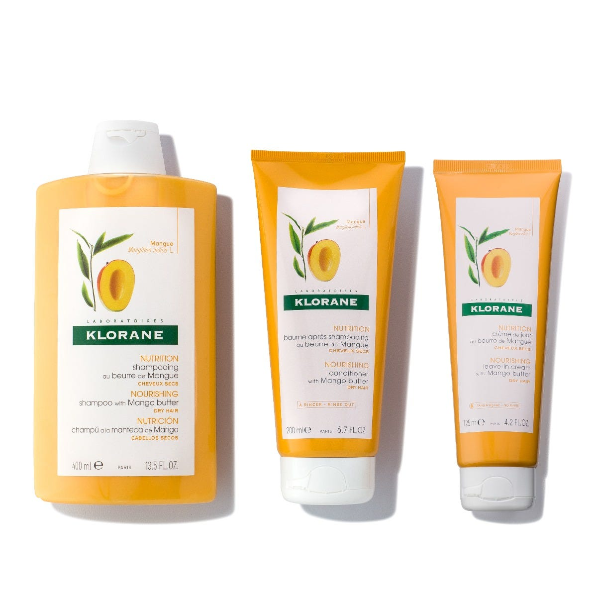 Restore weightless moisture back to dry, dehydrated hair with this intense nourishing regimen, powered by soft, cold pressed Mango butter. Kit Includes: Shampoo with Mango butter - 13.5 fl. oz. Conditioner with Mango butter - 6.7 fl. oz. Leave-in cream with Mango butter - 4.2 fl. oz. Kits are not eligible for promotional discounts