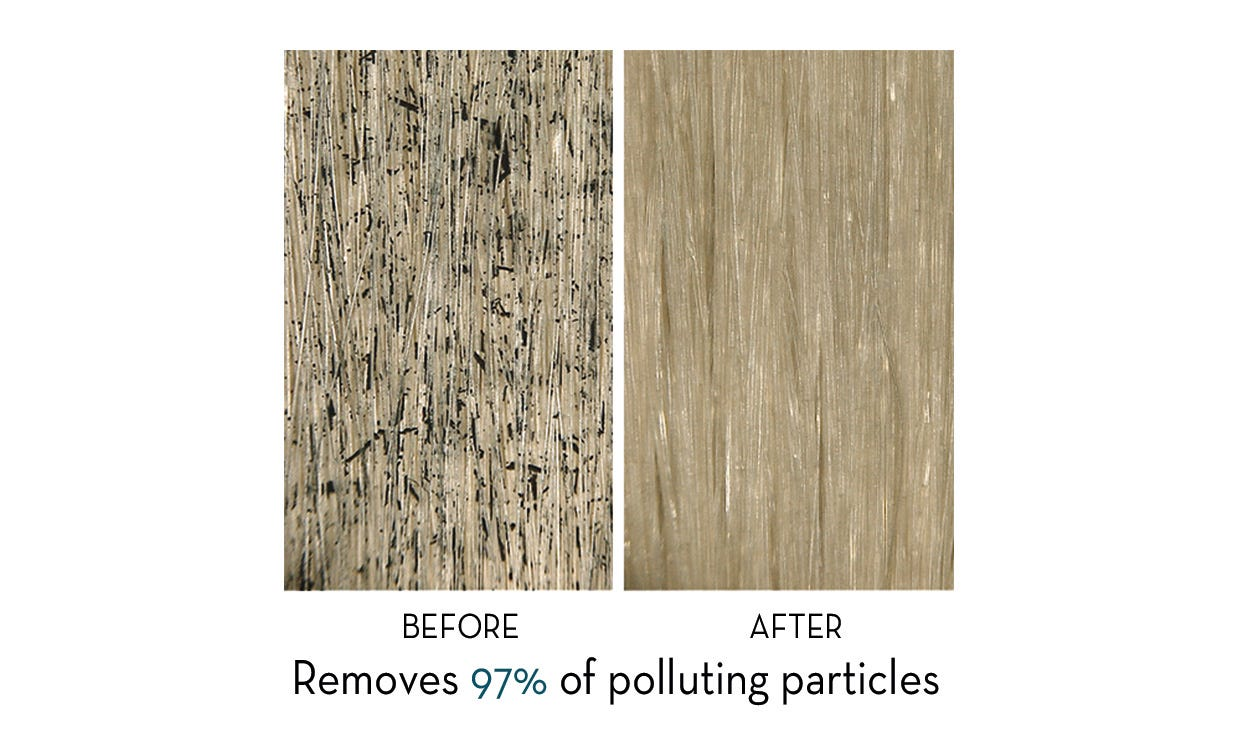 Microscopic view of hair fiber before and after use of Aquatic Mint hair collection